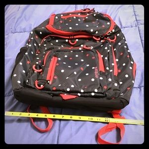 BACKPACK- XL Capacity - EUC black & red polka dots